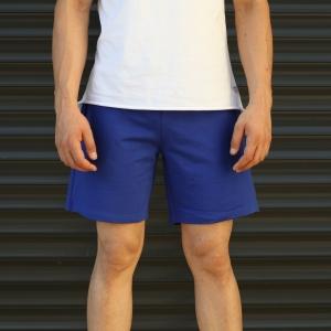 Men's Basic Fleece Sport Shorts In Dark Blue Mv Premium Brand - 2