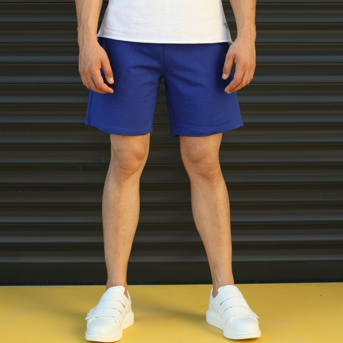 Men's Basic Fleece Sport Shorts In Dark Blue Mv Premium Brand - 1
