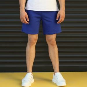 Men's Basic Fleece Sport Shorts In Dark Blue Mv Premium Brand - 1