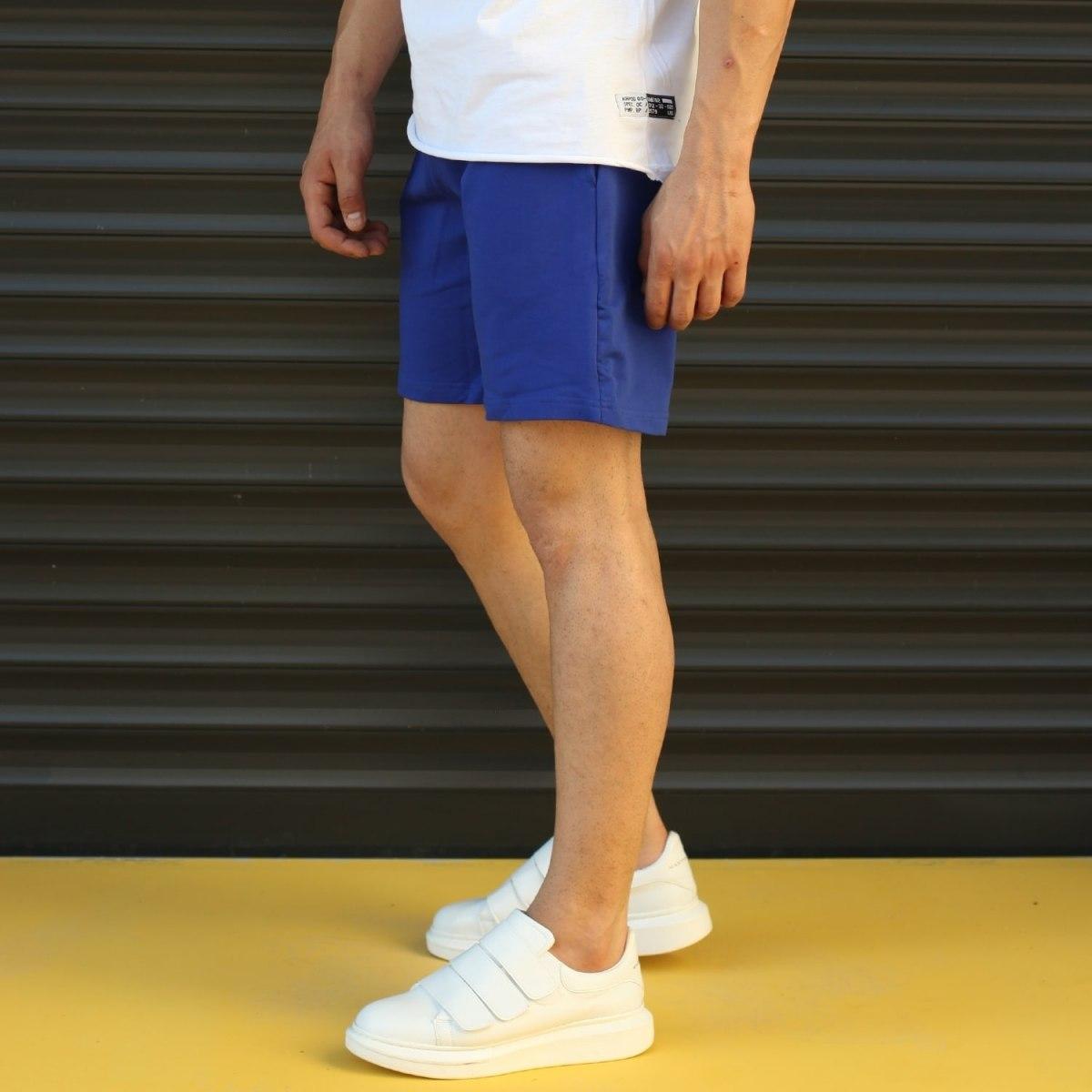 Men's Basic Fleece Sport Shorts In Dark Blue Mv Premium Brand - 3