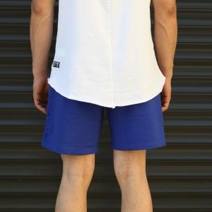 Men's Basic Fleece Sport Shorts In Dark Blue Mv Premium Brand - 4