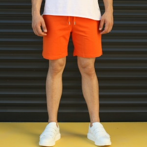 Men's Basic Fleece Sport Shorts In Orange Mv Premium Brand - 1