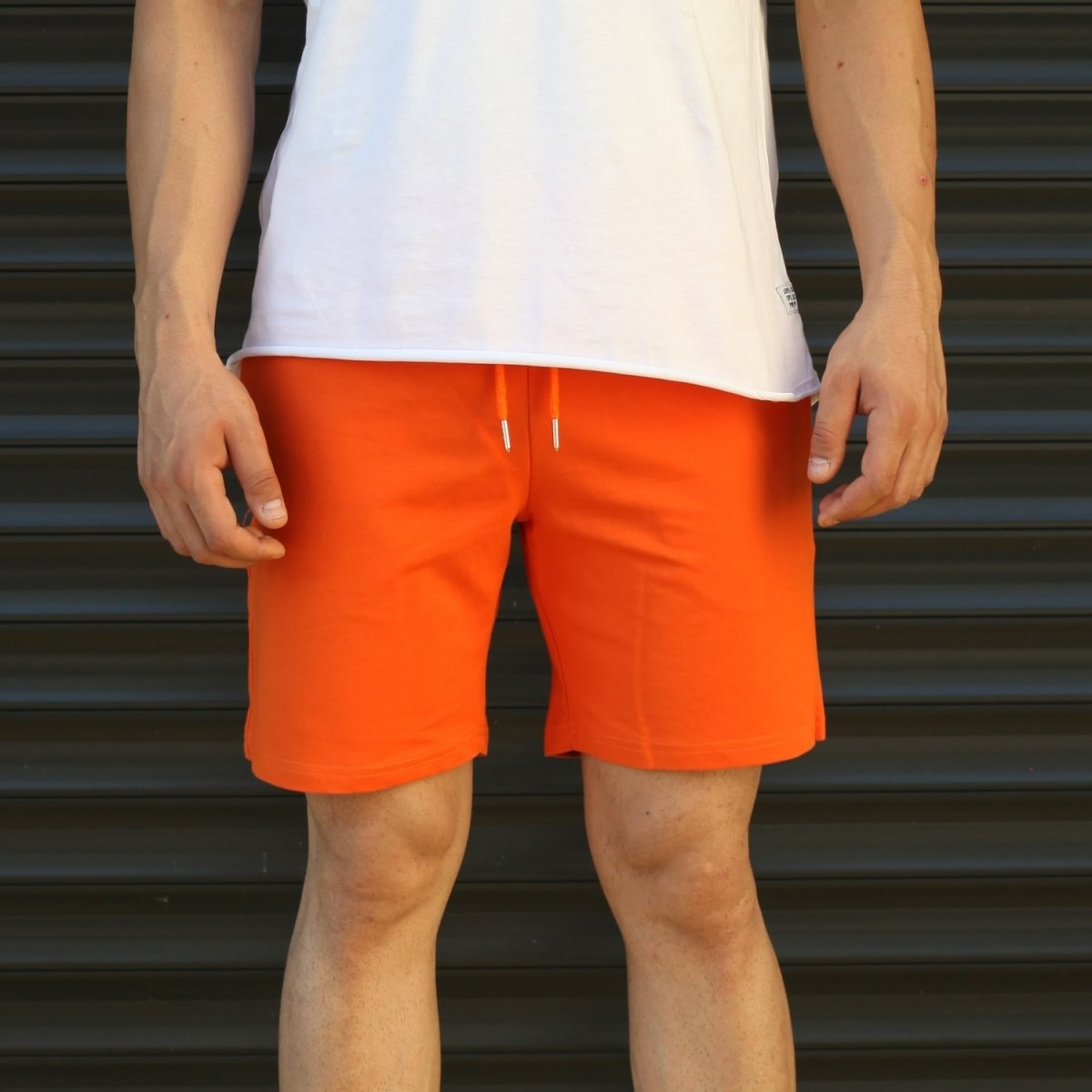 Men's Basic Fleece Sport Shorts In Orange Mv Premium Brand - 2