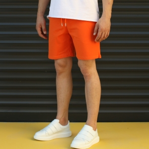 Men's Basic Fleece Sport Shorts In Orange Mv Premium Brand - 3