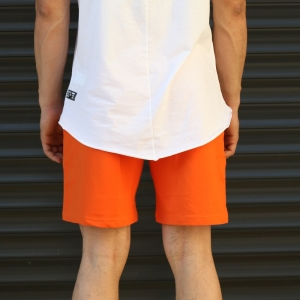Men's Basic Fleece Sport Shorts In Orange Mv Premium Brand - 4