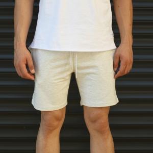 Men's Basic Fleece Sport Shorts In White Mv Premium Brand - 1