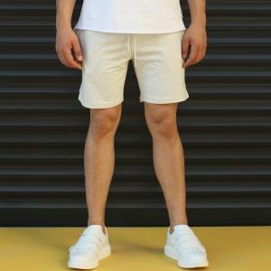 Men's Basic Fleece Sport Shorts In White Mv Premium Brand - 2