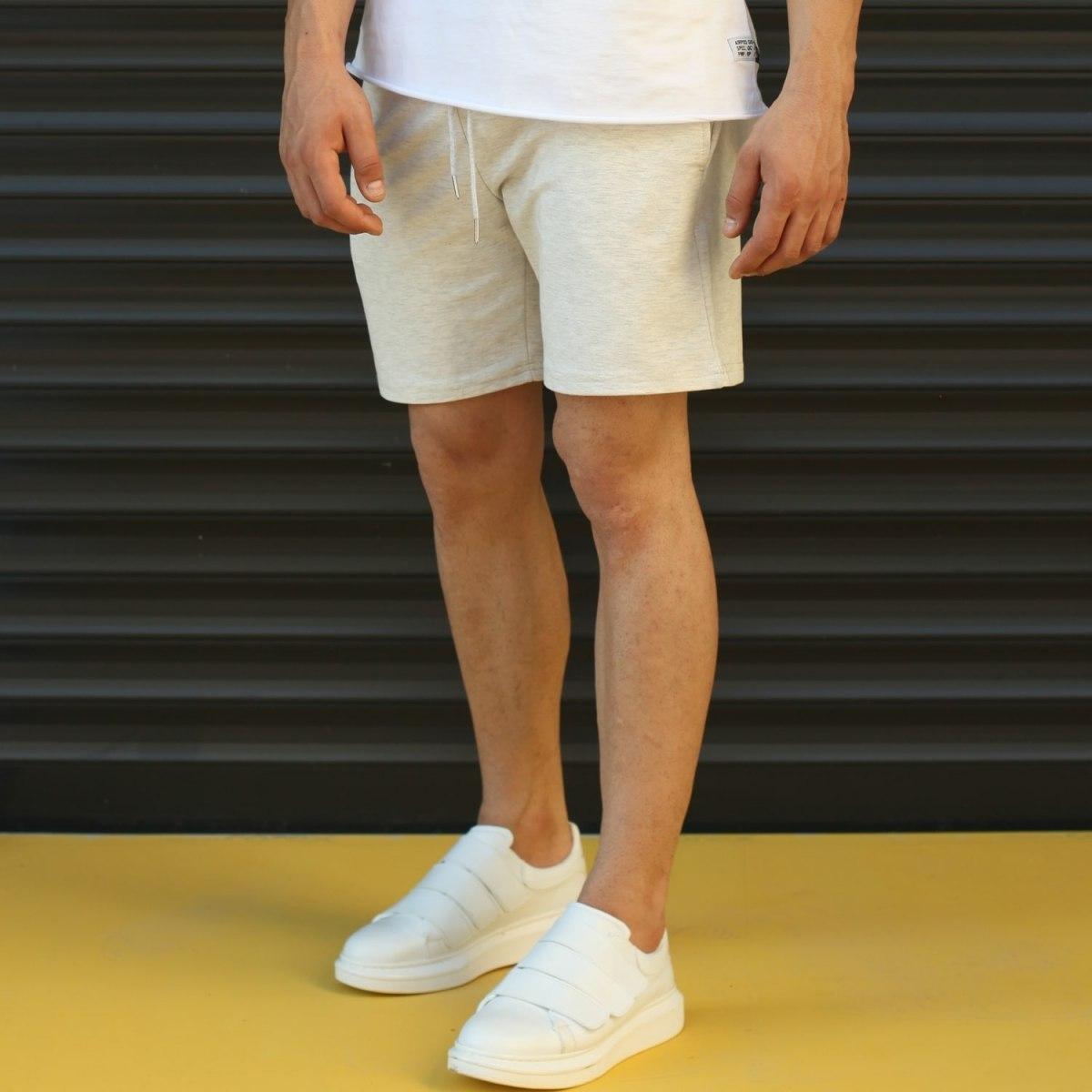 Men's Basic Fleece Sport Shorts In White Mv Premium Brand - 3