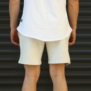 Men's Basic Fleece Sport Shorts In White Mv Premium Brand - 4