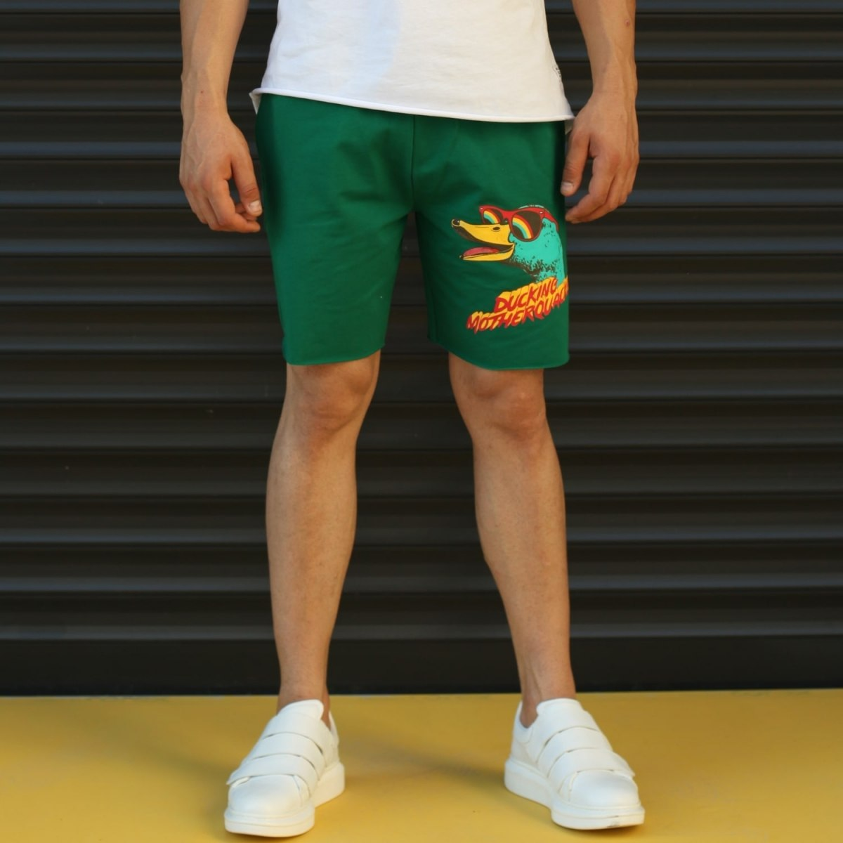 Men's Ducking Motherquackers Fleece Sport Shorts Green Mv Premium Brand - 1
