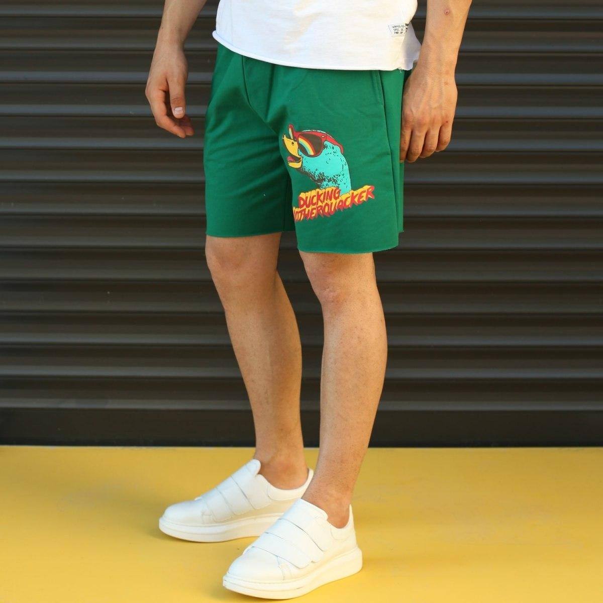 Men's Ducking Motherquackers Fleece Sport Shorts Green Mv Premium Brand - 3