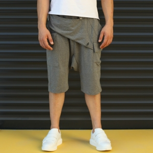 Men's Shalwar Design Fleece Sport Shorts With Side Pockets Gray Mv Premium Brand - 1