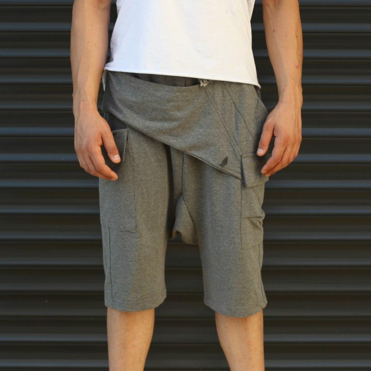 Men's Shalwar Design Fleece Sport Shorts With Side Pockets Gray Mv Premium Brand - 2