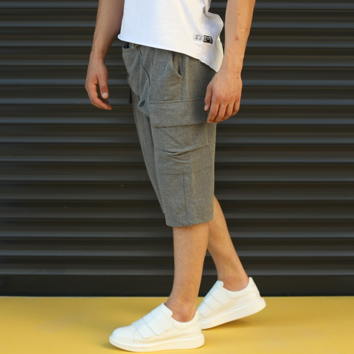 Men's Shalwar Design Fleece Sport Shorts With Side Pockets Gray Mv Premium Brand - 3