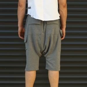 Men's Shalwar Design Fleece Sport Shorts With Side Pockets Gray Mv Premium Brand - 4