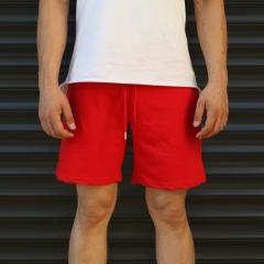 Men's Basic Fleece Sport Shorts In Red Mv Premium Brand - 2