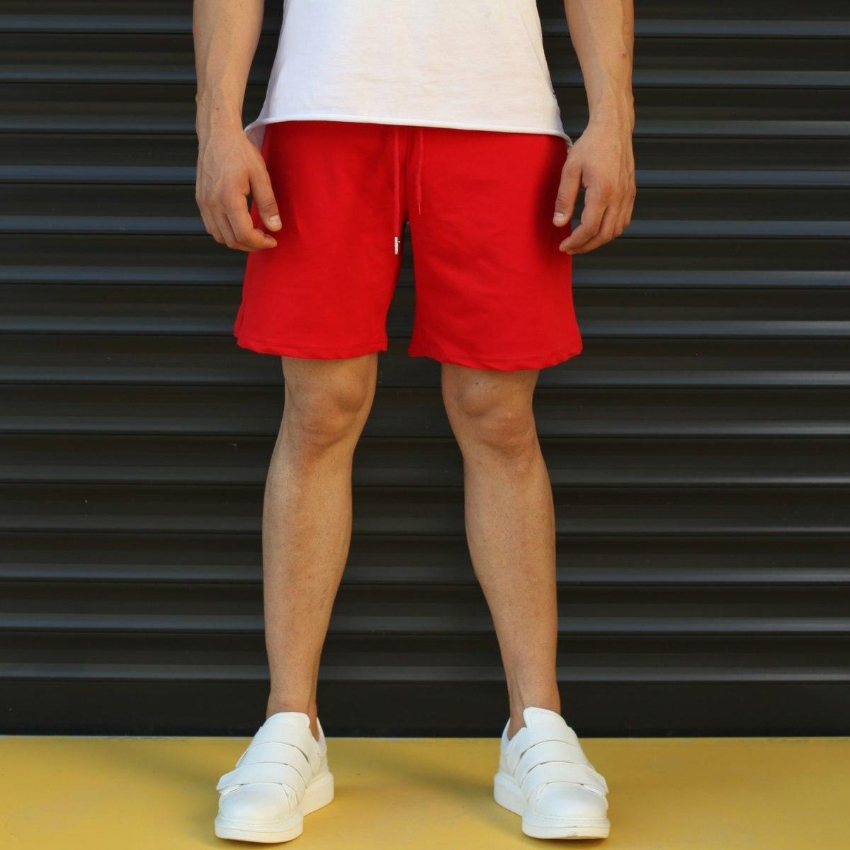 Men's Basic Fleece Sport Shorts In Red Mv Premium Brand - 1