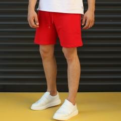 Men's Basic Fleece Sport Shorts In Red Mv Premium Brand - 3