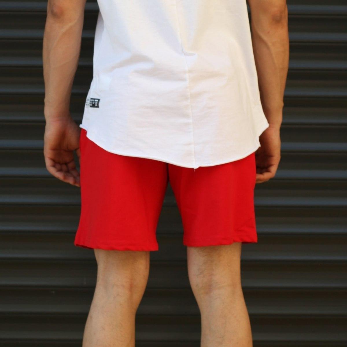 Men's Basic Fleece Sport Shorts In Red Mv Premium Brand - 4