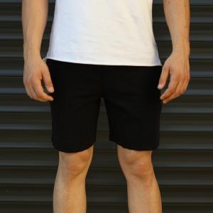Men's Basic Fleece Sport Shorts In Black Mv Premium Brand - 2