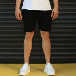 Men's Basic Fleece Sport Shorts In Black Mv Premium Brand - 1