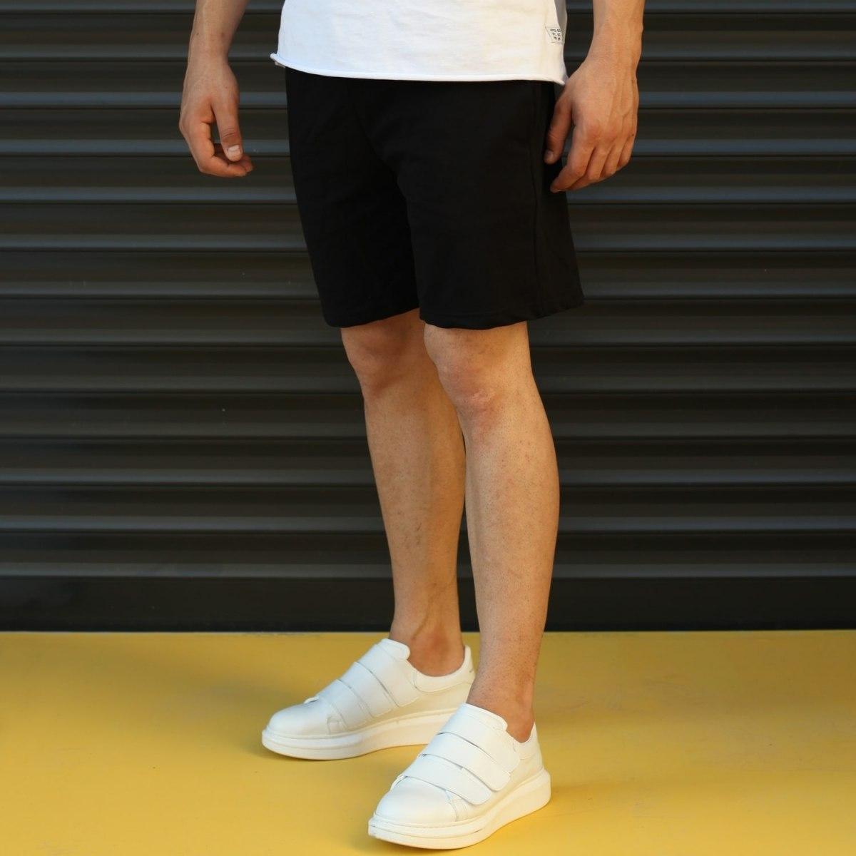 Men's Basic Fleece Sport Shorts In Black Mv Premium Brand - 3