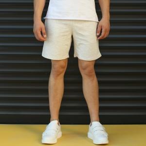 Men's Basic Fleece Sport Shorts In Beige Mv Premium Brand - 1