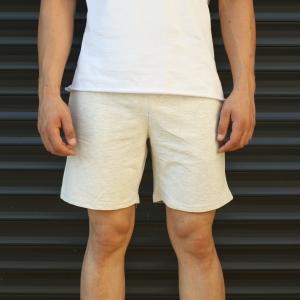 Men's Basic Fleece Sport Shorts In Beige Mv Premium Brand - 2