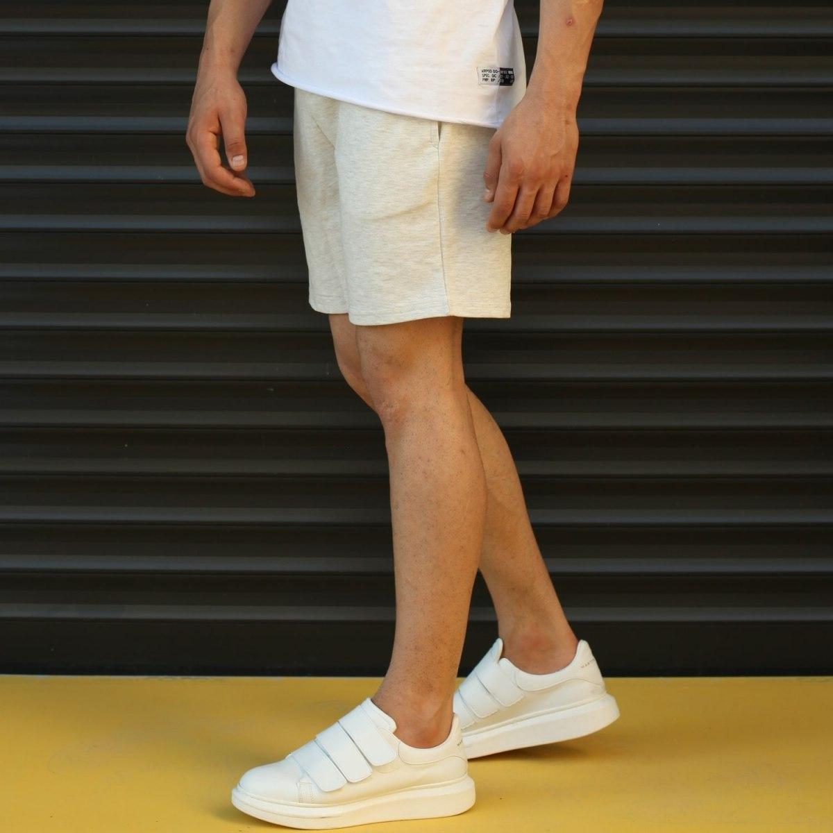 Men's Basic Fleece Sport Shorts In Beige Mv Premium Brand - 3