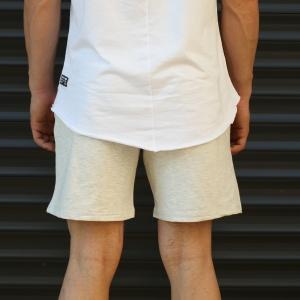 Men's Basic Fleece Sport Shorts In Beige Mv Premium Brand - 4