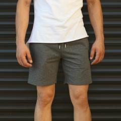 Men's Basic Fleece Sport Shorts In Gray Mv Premium Brand - 2