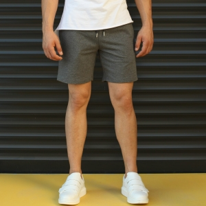 Men's Basic Fleece Sport Shorts In Gray Mv Premium Brand - 1