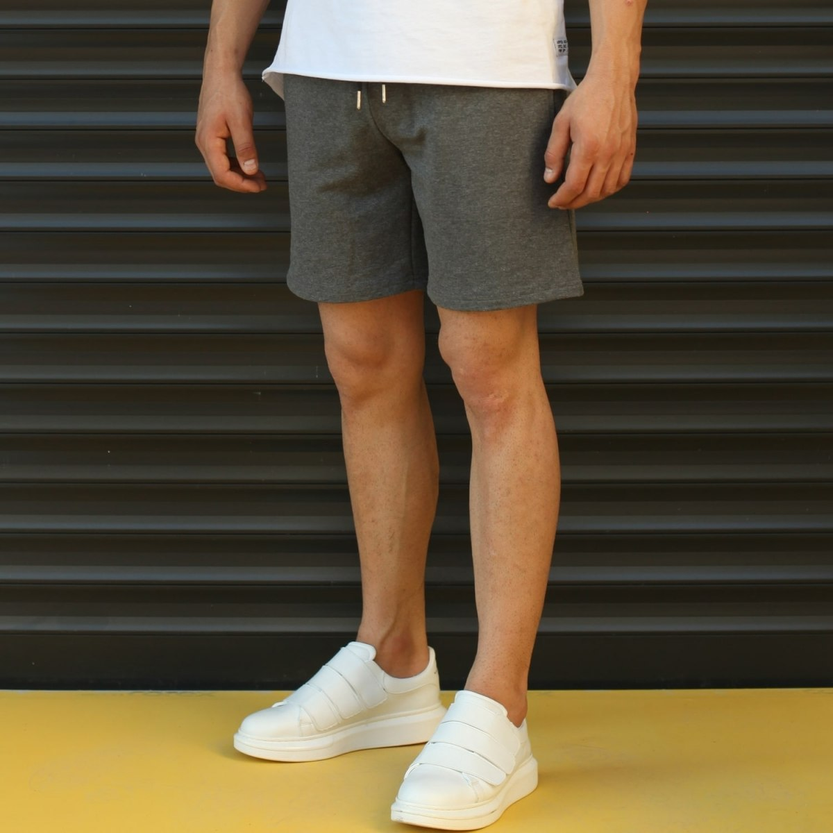 Men's Basic Fleece Sport Shorts In Gray Mv Premium Brand - 3