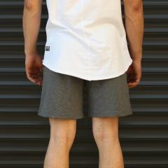 Men's Basic Fleece Sport Shorts In Gray Mv Premium Brand - 4