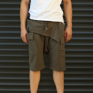 Men's Shalwar Design Fleece Sport Shorts With Side Pockets Khaki Mv Premium Brand - 2