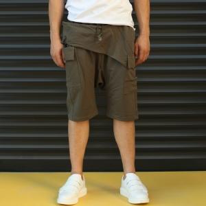Men's Shalwar Design Fleece Sport Shorts With Side Pockets Khaki Mv Premium Brand - 1