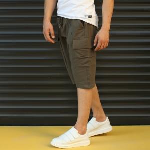 Men's Shalwar Design Fleece Sport Shorts With Side Pockets Khaki Mv Premium Brand - 3