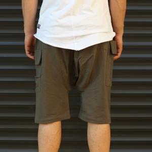 Men's Shalwar Design Fleece Sport Shorts With Side Pockets Khaki Mv Premium Brand - 4
