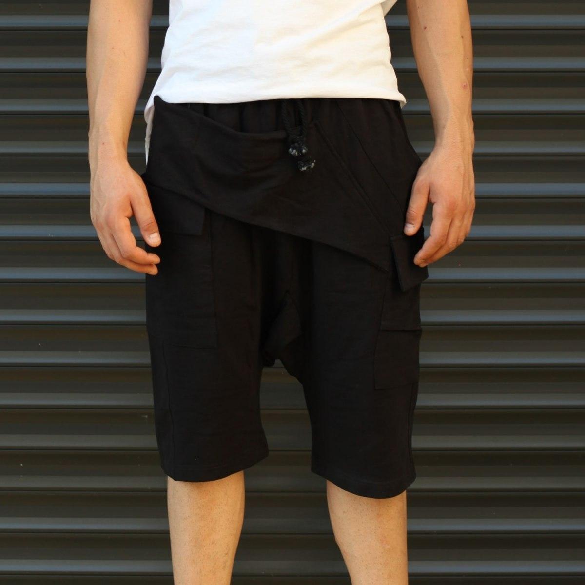 Men's Shalwar Design Fleece Sport Shorts With Side Pockets Black Mv Premium Brand - 2