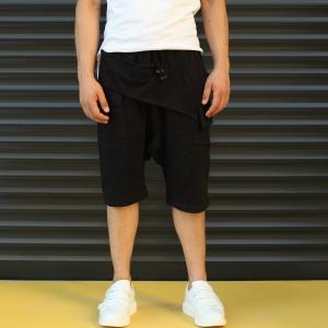 Men's Shalwar Design Fleece Sport Shorts With Side Pockets Black Mv Premium Brand - 1