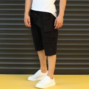 Men's Shalwar Design Fleece Sport Shorts With Side Pockets Black Mv Premium Brand - 3