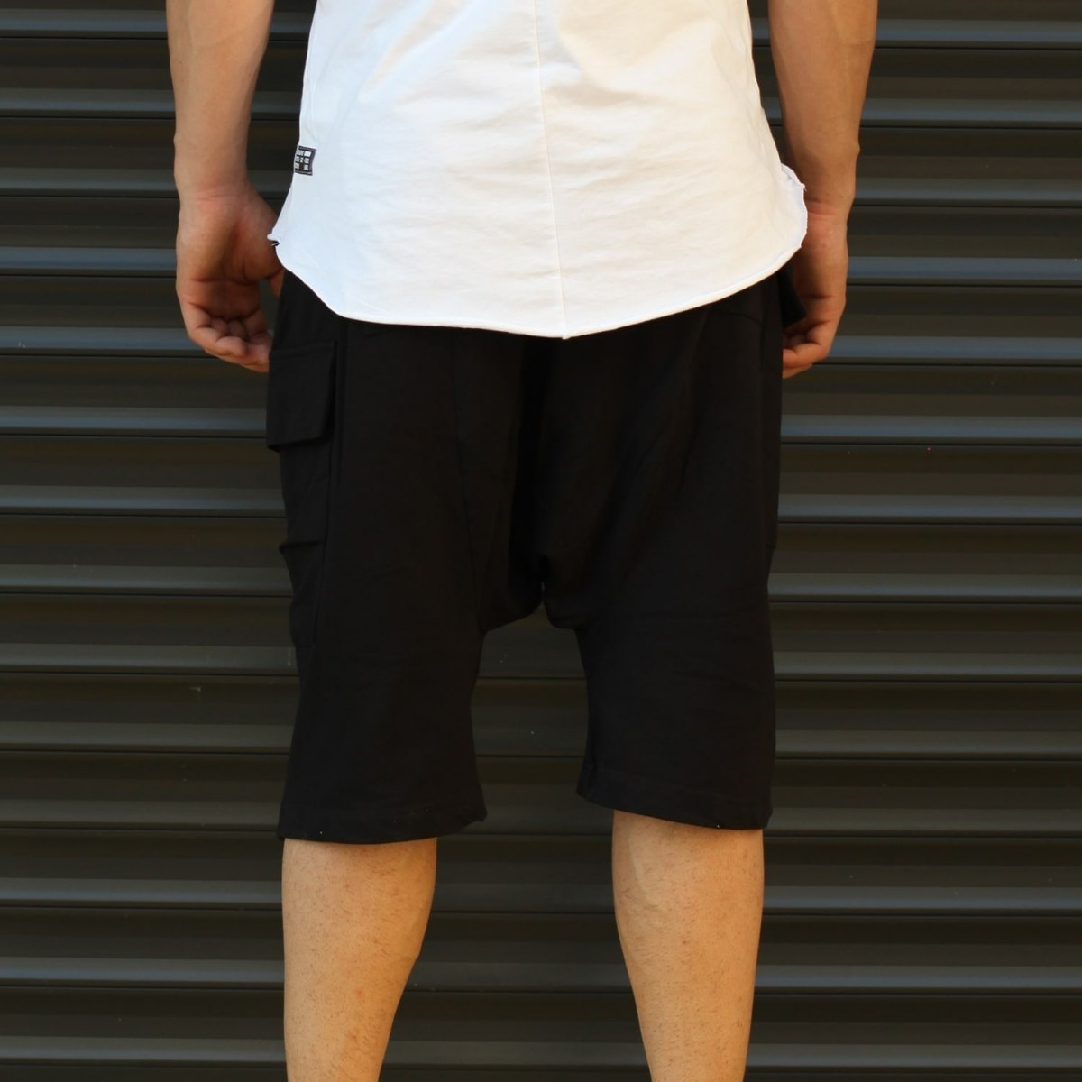 Men's Shalwar Design Fleece Sport Shorts With Side Pockets Black Mv Premium Brand - 4