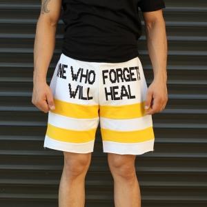 Men's Who Forgets Will Heal Fleece Sport Shorts White Mv Premium Brand - 2
