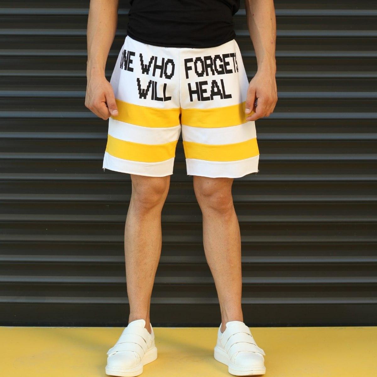 Men's Who Forgets Will Heal Fleece Sport Shorts White Mv Premium Brand - 1