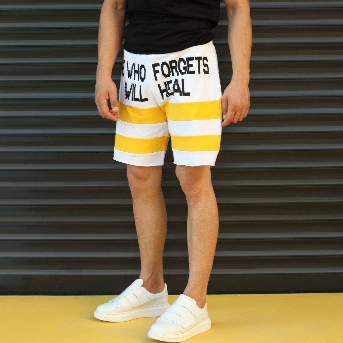 Men's Who Forgets Will Heal Fleece Sport Shorts White Mv Premium Brand - 3