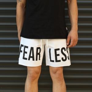 Men's Fearless Fleece Sport Shorts White Mv Premium Brand - 1