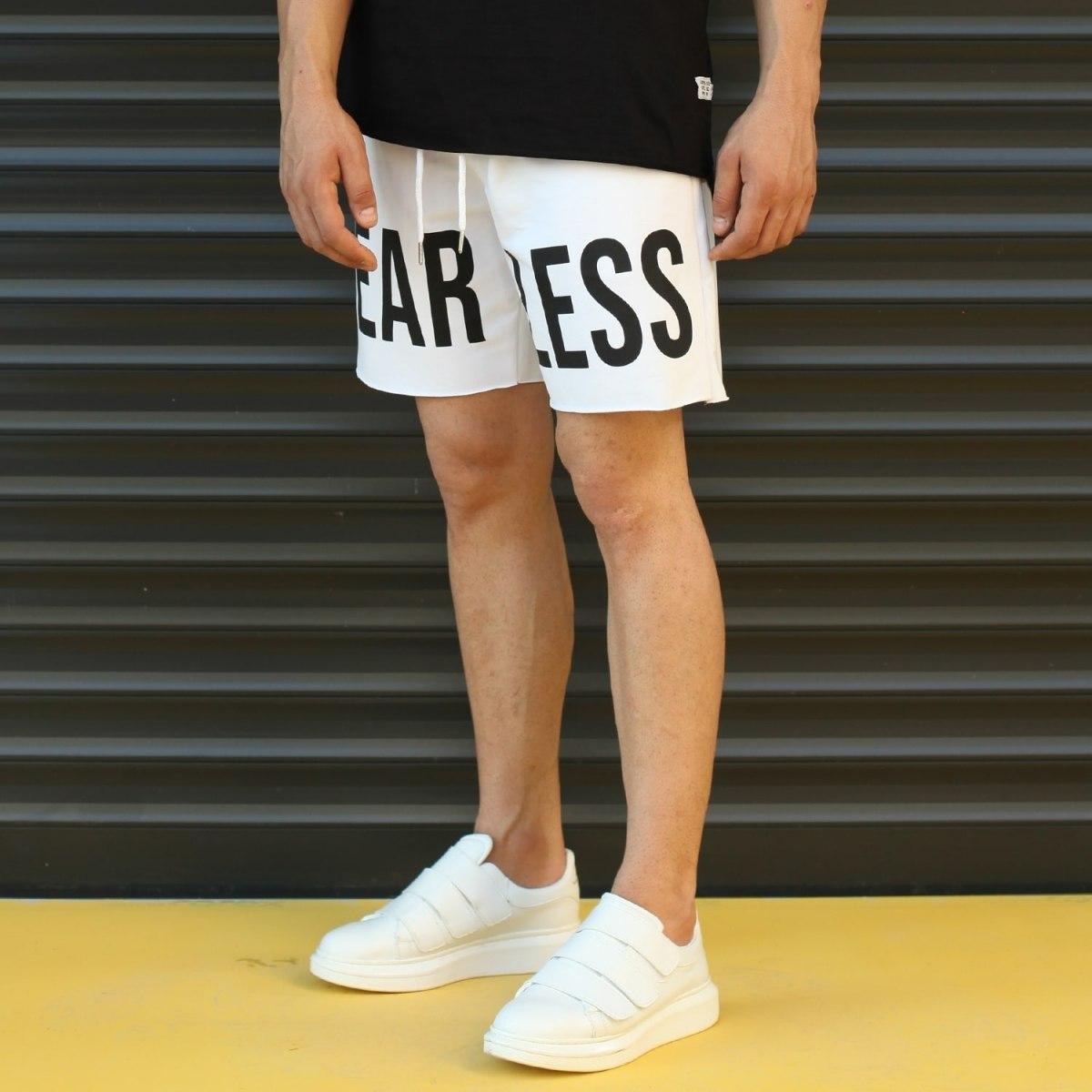 Men's Fearless Fleece Sport Shorts White Mv Premium Brand - 3