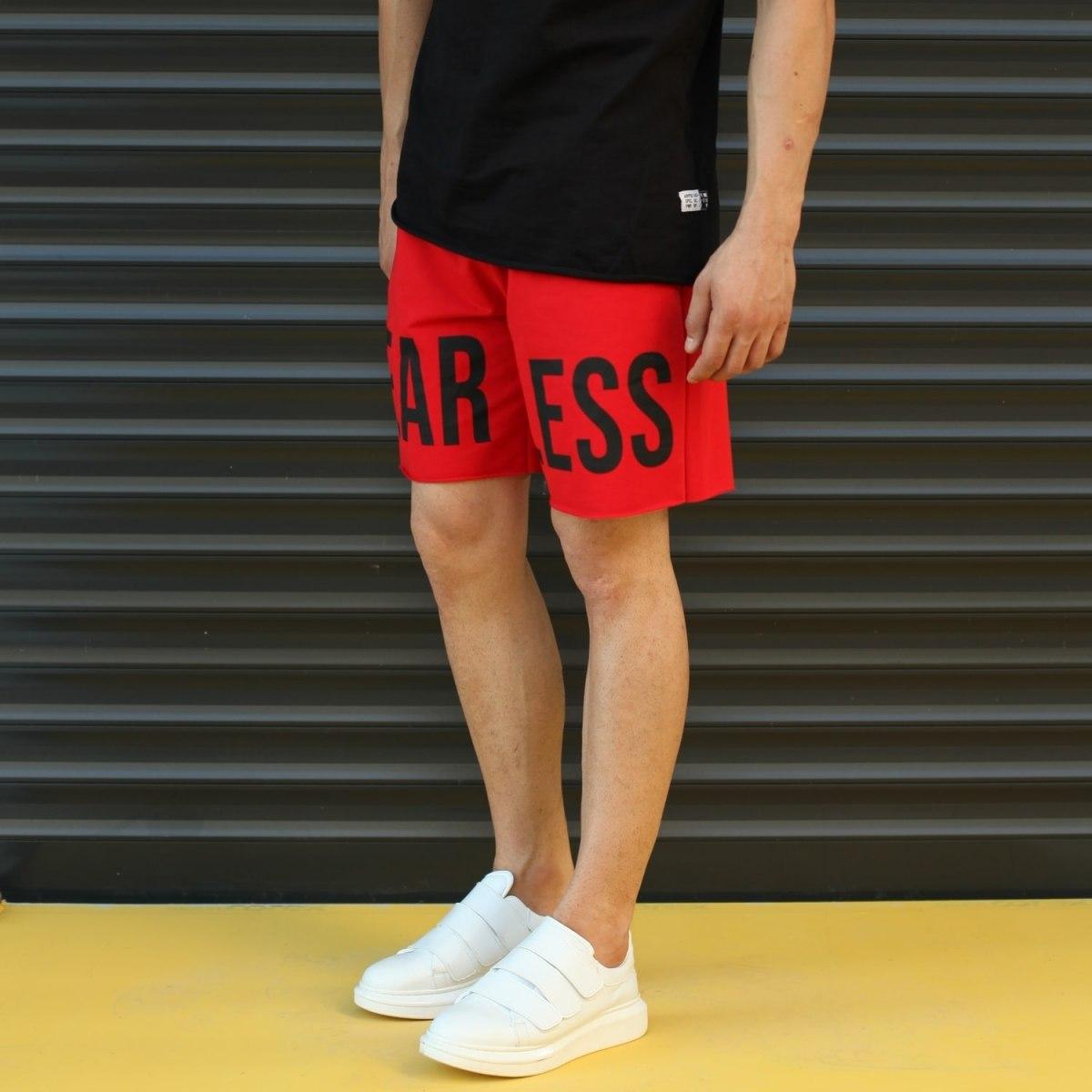 Men's Fearless Fleece Sport Shorts Red Mv Premium Brand - 3