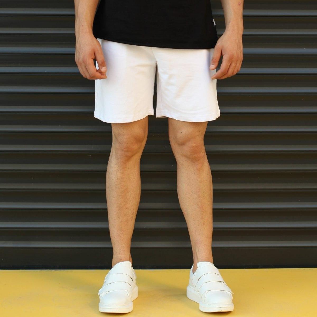 Men's Basic Fleece Sport Shorts New White