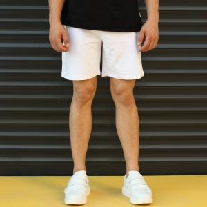 Men's Basic Fleece Sport Shorts New White Mv Premium Brand - 1